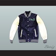 Gamma Alpha Omega Sorority Navy Blue and White Lab Leather Varsity Letterman Jacket