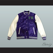 Gamma Eta Sorority Purple and White Lab Leather Varsity Letterman Jacket