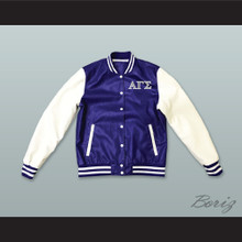 Alpha Gamma Sigma Fraternity Blue and White Lab Leather Varsity Letterman Jacket