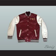 Gamma Phi Beta Sorority Maroon and White Lab Leather Varsity Letterman Jacket