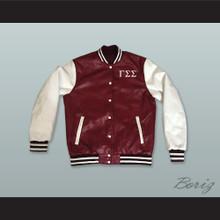 Gamma Sigma Sigma Sorority Maroon and White Lab Leather Varsity Letterman Jacket