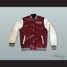 Pi Beta Phi Sorority Maroon and White Lab Leather Varsity Letterman Jacket