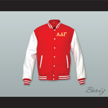 Alpha Delta Gamma Fraternity Red Wool and White Lab Leather Varsity Letterman Jacket