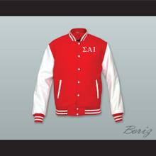 Sigma Alpha Iota Sorority Red Wool and White Lab Leather Varsity Letterman Jacket