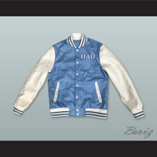 Pi Delta Pi Sorority Light Blue and White Lab Leather Varsity Letterman Jacket