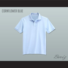 Men's Solid Color Cornflower Blue Polo Shirt