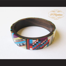 P Middleton Camagong Wood Bangle Elaborate Micro Inlay Design 2