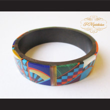 P Middleton Camagong Wood Bangle Elaborate Micro Inlay Design 11