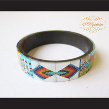 P Middleton Camagong Wood Bangle Elaborate Micro Inlay Design 14