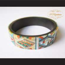 P Middleton Camagong Wood Bangle Elaborate Micro Inlay Design 15