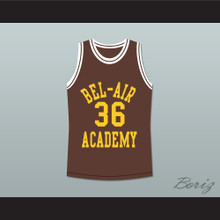 The Fresh Prince of Bel-Air Jazzy Jeff 36 Jazz Bel-Air Academy Brown Basketball Jersey