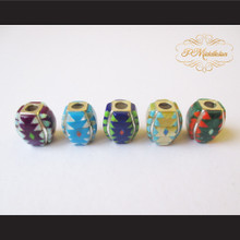 P Middleton 5 Bead Set Sterling Silver .925 Micro Stone Inlays
