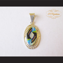 P Middleton Small Oval Pendant Sterling Silver .925 with Micro Inlay Stones