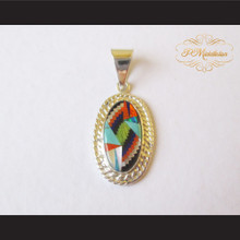 P Middleton Small Oval Pendant Sterling Silver .925 with Micro Inlay Stones Design