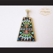 P Middleton Radiant Pendant Sterling Silver .925 with Micro Inlay Stones Design