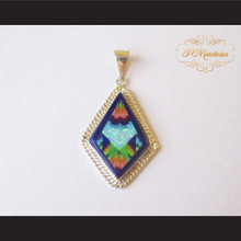 P Middleton Diamond Shape Pendant Sterling Silver .925 with Micro Inlay Stones Design