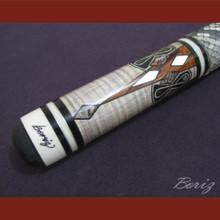 Boriz Billiards Snake Skin Grip Pool Cue Stick Original Inlay Artwork 001