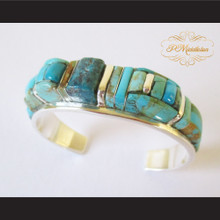 P Middleton Turquoise Cuff Bracelet Sterling Silver .925
