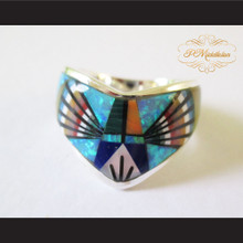 P Middleton Radiant Multiple Semi Precious Stones Ring Sterling Silver .925