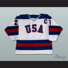 Mike Eruzione 21 Team USA White Hockey Jersey