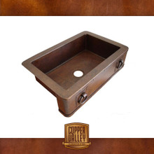 Copper Valley Farmhouse Sink 14 Gauge Rings and Rivets on Apron Kitchen Sink