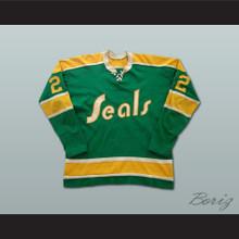 Joey Johnston California Golden Seals Hockey Jersey Green