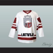 Latvia National Team Hockey Jersey White