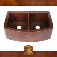 Copper Valley Farmhouse Sink Curved Apron 14 Gauge Double Kitchen Sink