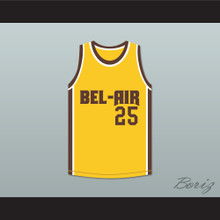 Carlton Banks 25 Bel-Air Academy Yellow Basketball Jersey Remix