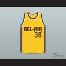Jazzy Jeff 36 Bel-Air Academy Yellow Basketball Jersey Remix