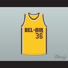 Jazzy Jeff 36 Bel-Air Academy Yellow Basketball Jersey Remix