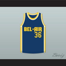 Jazzy Jeff 36 Bel-Air Academy Blue Basketball Jersey Remix