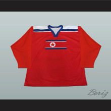 North Korea National Team Hockey Jersey Red