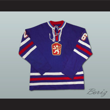 Peter Stastny Czechoslovakia Hockey Jersey Blue