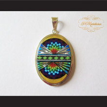 P Middleton Radiant Oval Pendant Sterling Silver .925 with Micro Inlay Stones