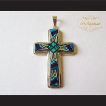 P Middleton Christian Cross Pendant Sterling Silver .925 with Micro Inlay Stones