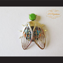 P Middleton Winged Beetle Pendant Sterling Silver .925 with Micro Inlay Stones