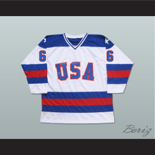 1980 Miracle On Ice Team USA Bill Baker 6 Hockey Jersey White