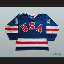 1980 Miracle On Ice Team USA Dave Christian 23 Hockey Jersey Blue