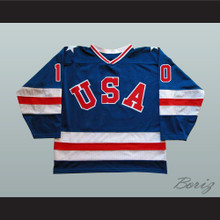 1980 Miracle On Ice Team USA Mark Johnson 10 Hockey Jersey Blue