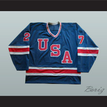1980 Miracle On Ice Team USA Phil Verchota 27 Hockey Jersey Blue 2