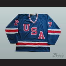 1980 Miracle On Ice Team USA Phil Verchota 27 Hockey Jersey Blue 2