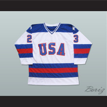 1980 Miracle On Ice Team USA Dave Christian 23 Hockey Jersey White