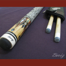 Boriz Billiards Snake Skin Grip Pool Cue Stick Original Inlay Artwork 012