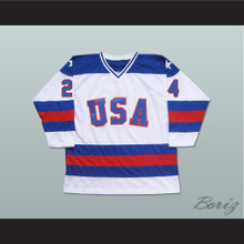 1980 Miracle On Ice Team USA Rob McClanahan 24 Hockey Jersey White
