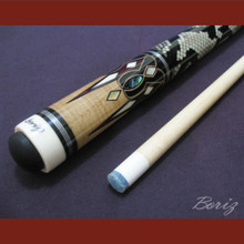 Boriz Billiards Laminated Snake Skin Grip Pool Cue Stick Original Inlay Artwork 024