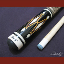 Boriz Billiards Laminated Snake Skin Grip Pool Cue Stick Original Inlay Artwork 027