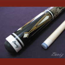 Boriz Billiards Laminated Snake Skin Grip Pool Cue Stick Original Inlay Artwork 028