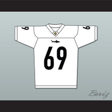 Patrick 'Madman' Kelly 69 Miami Sharks White Football Jersey Any Given Sunday Includes AFFA Patch