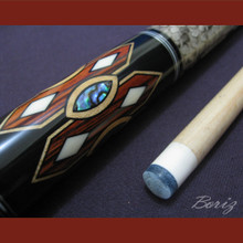 Boriz Billiards Laminated Snake Skin Grip Pool Cue Stick Original Inlay Artwork 031